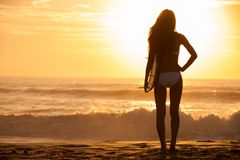 Kobiety Bikini Surfingowiec & Surfboard Zmierzchu Plaża Zdjęcie Royalty Free