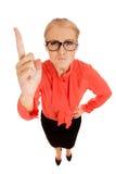 Kobiety biznesowy merdanie jej palec Obrazy Royalty Free