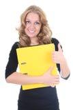 kobiety biznesowy skoroszytowy kolor żółty Fotografia Royalty Free