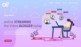 Kobiety Blogger Komunikuje przy laptopem z zwolennikami ilustracja wektor