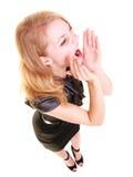 Kobiety blondynki buisnesswoman krzyczeć odizolowywam Zdjęcia Stock