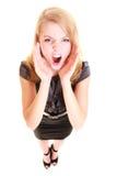 Kobiety blondynki buisnesswoman krzyczeć odizolowywam Zdjęcia Royalty Free