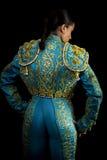 Kobiety bullfighter kostium z błękitnymi światłami zdjęcia royalty free