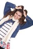 Kobiety ciągnięcie jej włosy Zdjęcia Stock