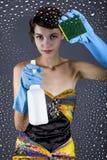 Kobiety Cleaning fotografii Wzorcowy studio fotografia royalty free