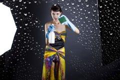 Kobiety Cleaning fotografii Wzorcowy studio obrazy stock