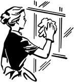 Kobiety Cleaning okno Zdjęcia Royalty Free