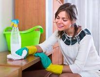 Kobiety cleaning w żywym pokoju Fotografia Stock