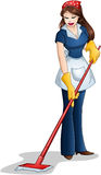Kobiety Cleaning Z kwaczem Dla Passover Obrazy Royalty Free