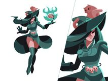 Kobiety czarownica z czaszką royalty ilustracja