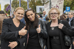 Kobiety czerni protest w Warszawa Obraz Stock