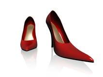 Kobiety czerwieni buty Zdjęcia Royalty Free