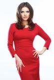 Kobiety czerwieni sukni portret na białym tle uśmiecha się Obraz Royalty Free