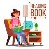 Kobiety Czytelniczej książki wektor czytanie w domu Miłości czytać Odosobniona płaska kreskówki ilustracja royalty ilustracja