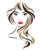 Kobiety długie włosy stylowa ikona, logo kobiety stawiają czoło na białym tle Zdjęcia Stock