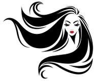 Kobiety długie włosy stylowa ikona, logo kobiety na białym tle Obraz Stock