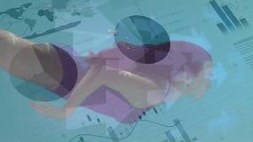Kobiety dopłynięcie przeciw pieniężnym dane na błękitnym tle