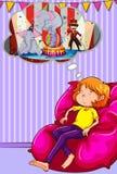 Kobiety drzemanie na kanapie royalty ilustracja