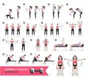 Kobiety dumbbell treningu ćwiczenia i sprawność fizyczna