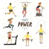 Kobiety dziewczyna robi sportów ćwiczeniom Sport władzy ręka rysujący tekst Zdrowy Styl ?ycia freehand rysunku wektor ilustracja wektor