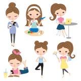 Kobiety dziewczyny stylu życia aktywności set ilustracja wektor