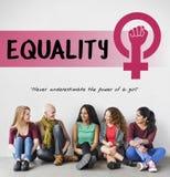 Kobiety dziewczyny władzy feminizmu równej możliwości pojęcie zdjęcie royalty free