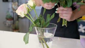 Kobiety fachowa kwiaciarnia stawia róże na wazie w kwiatu sklepie, wręcza zbliżenie zbiory