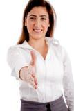 kobiety frontowej uścisk dłoni ofiary uśmiechnięty widok Fotografia Stock