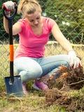 Kobiety głębienia dziura w ogródzie zdjęcie stock