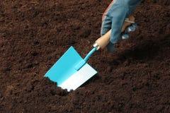 Kobiety głębienia ziemia z metalu ogrodnictwa kielnią fotografia royalty free