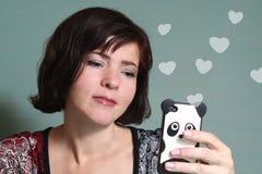 Kobiety gawędzenia boyfrend datowanie mobilna usługa Obraz Royalty Free