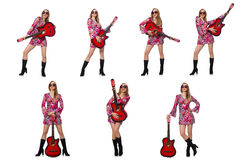 Kobiety gitary gracz odizolowywający na bielu Zdjęcie Stock