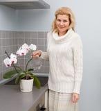 Kobiety gotuje jedzenie przy kuchnią Zdjęcie Stock