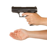 Kobiety grożenie z czarnym pistoletem Obraz Royalty Free