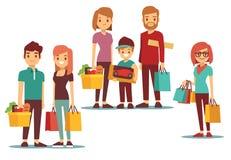 Kobiety i mężczyzna iść robić zakupy z toreb wektorowymi ludźmi ustawiającymi ilustracja wektor