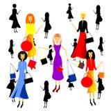 Kobiety i zakupy Obrazy Stock