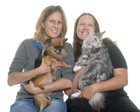 Kobiety i zwierzę domowe obrazy royalty free