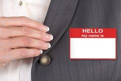 kobiety imienia etykiety Zdjęcia Stock