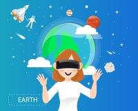 Kobiety jest ubranym rzeczywistość wirtualna szkła patrzeje ziemię w unive Obraz Stock
