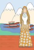 Kobiety jest ubranym Tradycyjną kaszmirczyk suknię Obraz Royalty Free