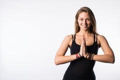 Kobiety joga nauczyciel w różnorodnym pozy asana odizolowywającym na białym tle Obraz Royalty Free