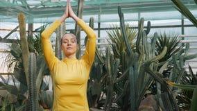 Kobiety joga sprawności fizycznej ćwiczy ćwiczenie podczas luksusowego joga odwrotu zdjęcie wideo