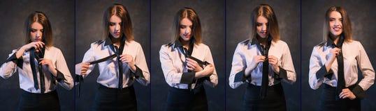 Kobiety kępki krawata fotografii setu pomocniczo tutorial proces Zdjęcie Royalty Free