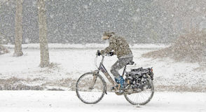 Kobiety kolarstwo w śniegu obrazy stock
