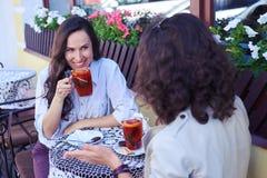 Kobiety komunikuje herbaty i pije Fotografia Royalty Free