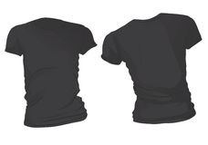 Kobiety koszulki Czarny szablon Zdjęcia Stock