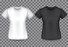 Kobiety koszulki pustego miejsca biały czarny przód na w kratkę tło wektorze royalty ilustracja