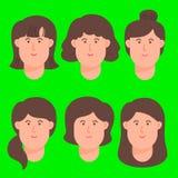 Kobiety kreskówki Avatar twarzy ikony set ilustracja wektor