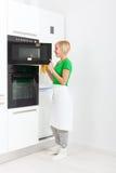 Kobiety kuchennego urządzenia nowożytny położenie, młoda dziewczyna Zdjęcia Stock