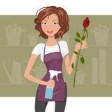Kobiety kwiaciarni wektoru ilustracja Zdjęcia Royalty Free